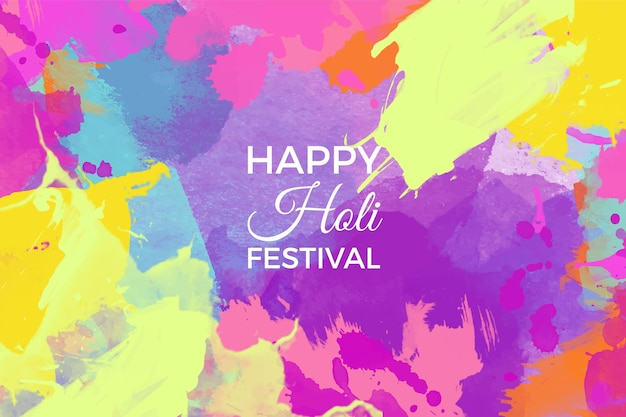 Watercolor colorful holi festival background