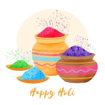 水彩カラフルなホーリー祭