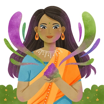 Watercolor colorful holi gulal