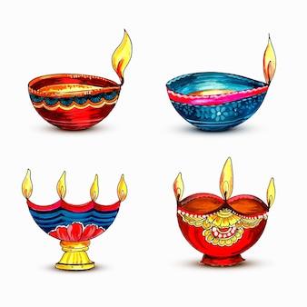 Watercolor colorful lamps for diwali festival