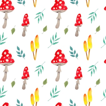 Watercolor colorful mushrooms pattern with greenery