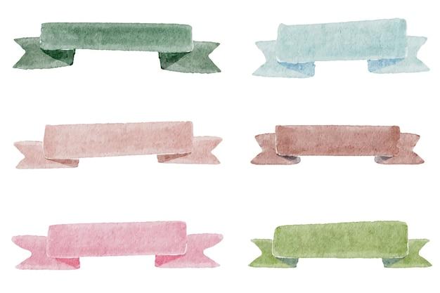 分離された水彩カラフルなリボンタグコレクション