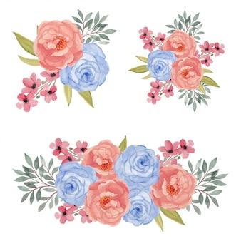 수채화 화려한 장미 꽃 꽃다발 그림 세트