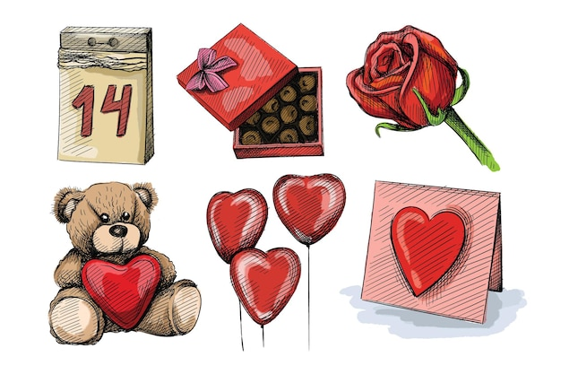 Watercolor colorful  sketch set of valentine's day attributes.