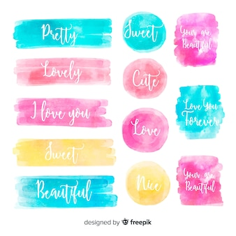 Watercolor colorful stain collection