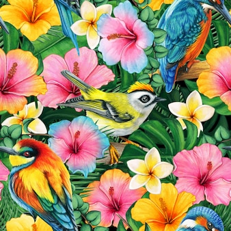 Watercolor colorful tropical birds and flowers pattern