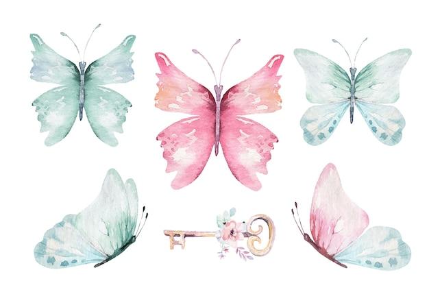水彩のカラフルなベクトル蝶、ピンク、青、黄色、ピンク、赤の蝶春のイラスト。魔法の春コレクション