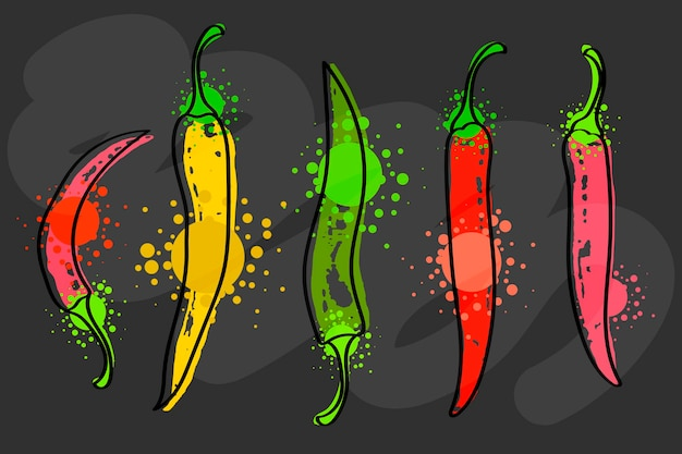 Watercolor colorful vegetables set red chili pepper, close-up isolated on black background. hand painted on paper