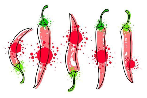 Акварель красочные овощи набор красный перец чили, крупным планом, изолированные на белом фоне. ручная роспись на бумаге