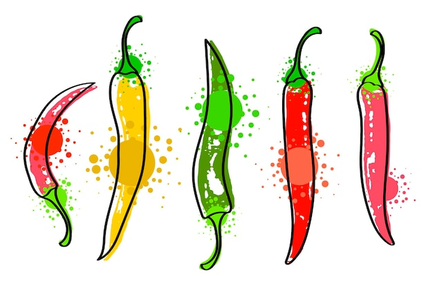 Watercolor colorful vegetables set red chili pepper, close-up isolated on white background. hand painted on paper