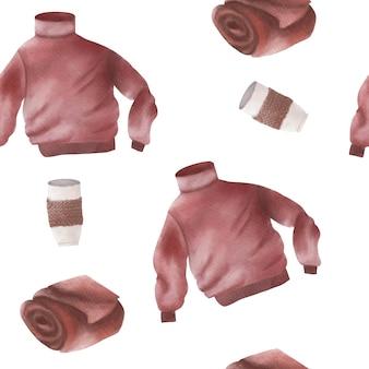 水彩の快適な格子縞のセーターマグバンドルパターンの背景
