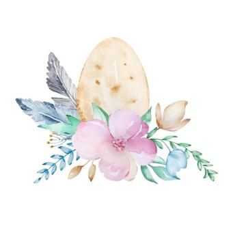 Акварельная композиция пасхальное яйцо с букетом ботанических цветов и перьев.