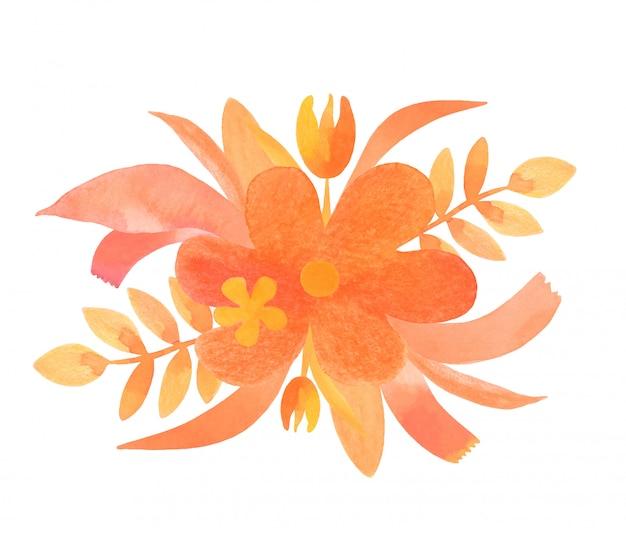 オレンジ色の花の要素と花の水彩画の組成