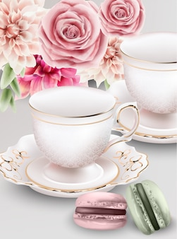 Watercolor composition with pink tea cups and macaroon sweets