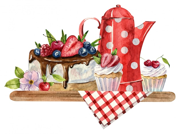Watercolor composition with teapot, cup, cake and flowers on the checkered tablecloth. cosy kitchen decor. hand painted illustration. english breakfast, vintage style