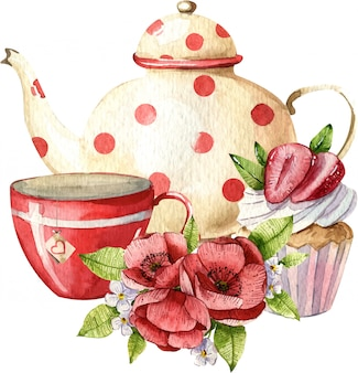 Watercolor composition with teapot, cup, cake and flowers. cosy kitchen decor. hand painted illustration. english breakfast, vintage style