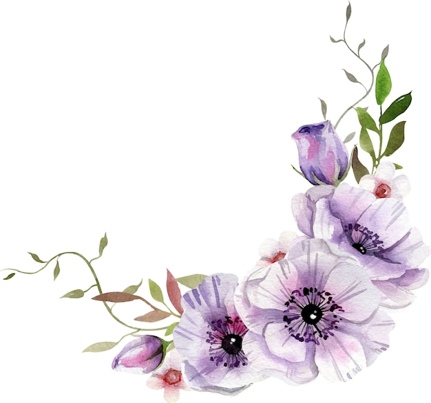 白と紫の花、葉の水彩画の構成。