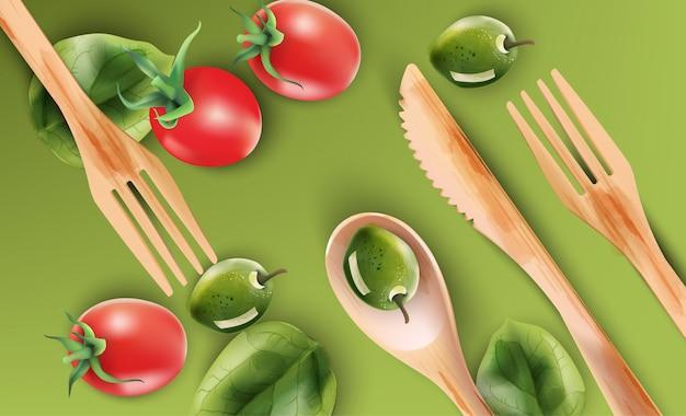 木製の食器と野菜の水彩画の組成