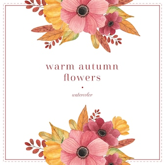 Watercolor compositions with autumn leaves and flowers