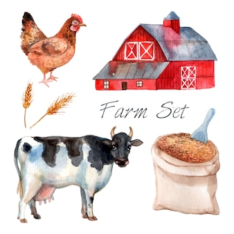 Watercolor concept farm set with cow hen and grain