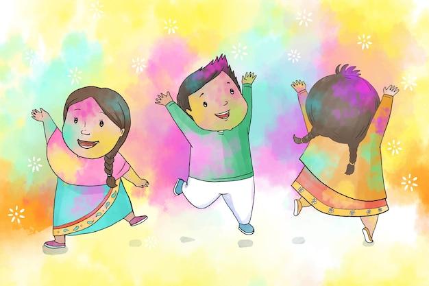 Watercolor concept for holi festival
