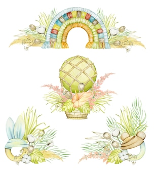 Boho 스타일에서 격리 된 배경에 수채화 개념. 풍선, 무지개 마크라메, 식물 장식.