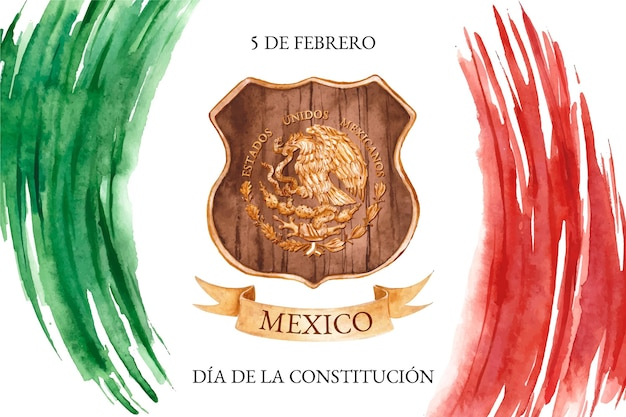 Watercolor constitution day background with mexican flag