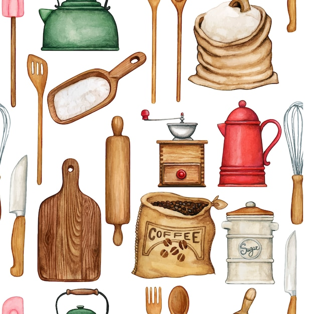 Watercolor cooking utensils seamless pattern