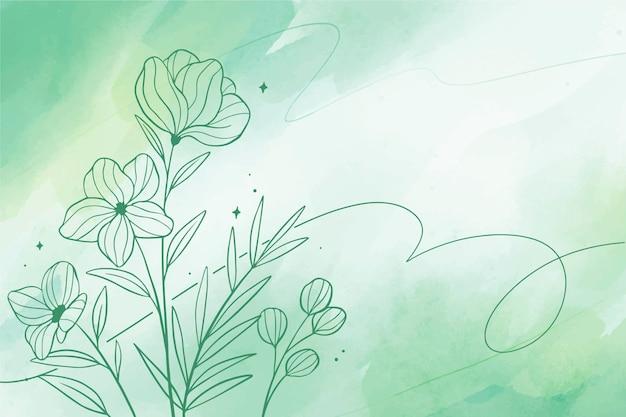 花の手描き要素と水彩コピースペースの背景