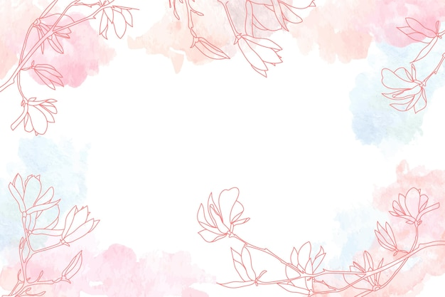 Watercolor copy space background with floral hand drawn elements