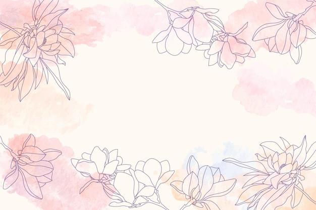 Акварельная копия космического фона с цветочными рисованными элементами