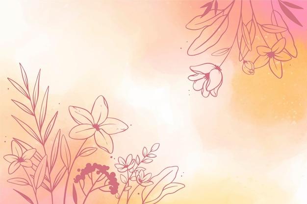 花と水彩コピースペースの背景
