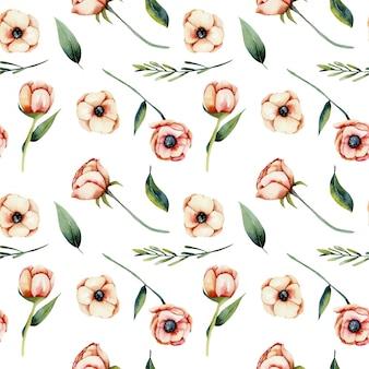 수채화 산호 아네모네 꽃과 녹색 잎 원활한 패턴, 손으로 그린