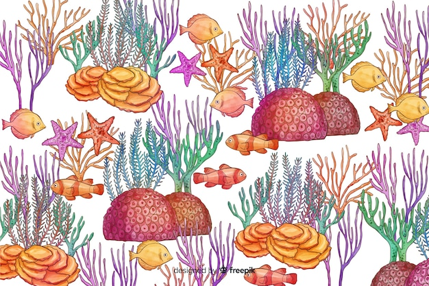 Watercolor coral background