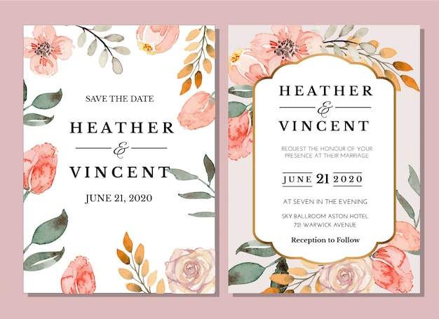Watercolor coral floral flowers vintage invitation card template set