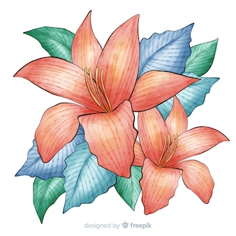Watercolor coral flower with colorful leaves