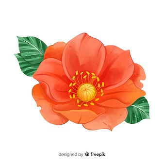 Watercolor coral flower with leaves