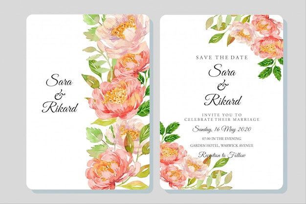 Watercolor coral peonies illustration wedding invitation template