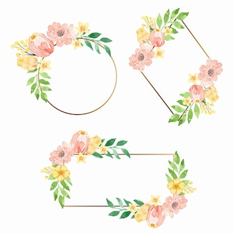 Watercolor coral pink floral round gold frame