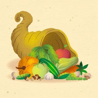 Illustrazione ad acquerello cornucopia