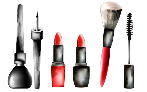 Watercolor cosmetic products in line