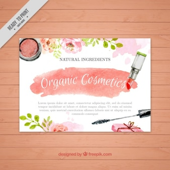 Watercolor cosmetics flyer