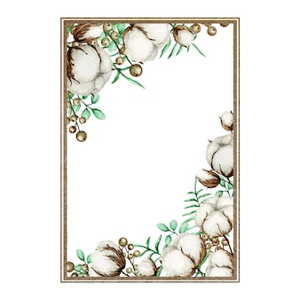 Watercolor cotton flower gold frame.