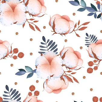 Watercolor cotton flower seamless pattern