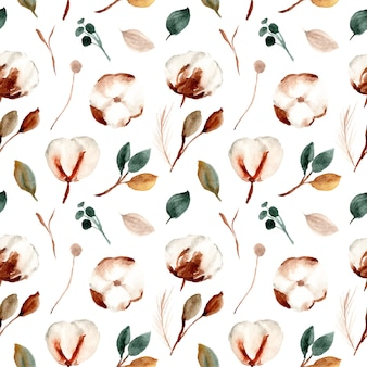Watercolor cotton flowers seamless pattern
