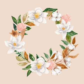 Watercolor cotton and magnolia floral wreath