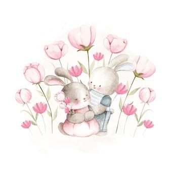 Акварельная пара кроликов у цветочного сада