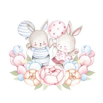 Акварельная пара кроликов с цветочным венком и воздушным шаром