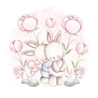 花と水彩カップルウサギ