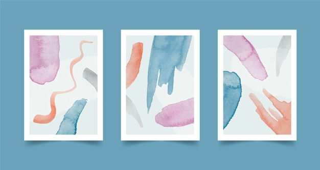 Watercolor covers collection with different shapes